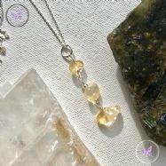 Citrine Chip Silver Pendant Necklace
